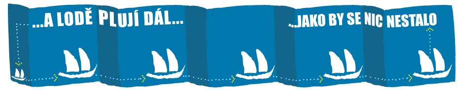 """Banner """"Lodě plují jako by se nic nedělo"""""""